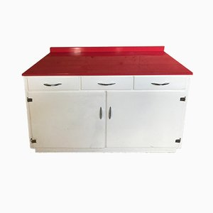 Kitchen Cabinet with Red Melamine Top, 1950s