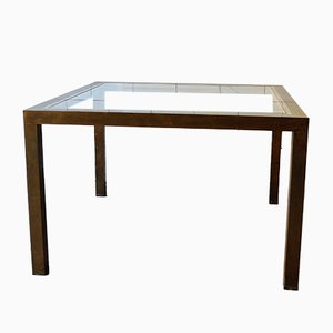 Square Coffee Table in Brass and Glass, 1970s