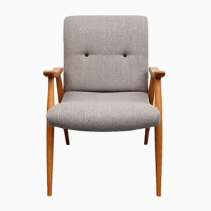 Vintage Solid Wood Armchair with Gray Fabric, 1950s