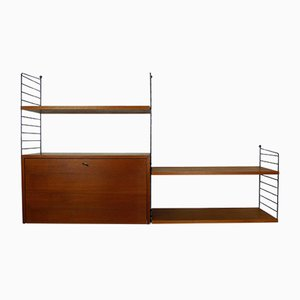 Teak Wall Unit with Cabinet by Nisse Strinning for String, 1950s