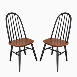 Vintage Dutch Black Lacquered Chairs, Set of 2