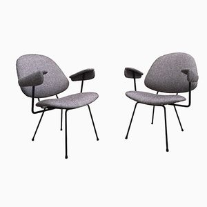 Mid-Century Dutch Heather Gray Armchairs by Willem Gispen for Gispen, Set of 2