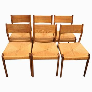 Dutch Solid Teak Chairs, 1960s, Set of 6