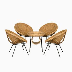 Französische Rattan Sitzgruppe mit Tisch, 1960er