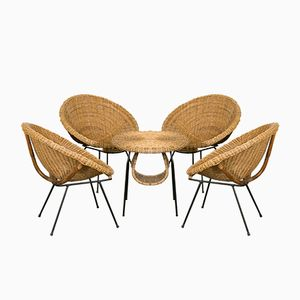 French Rattan Seating Group with Table, 1960s