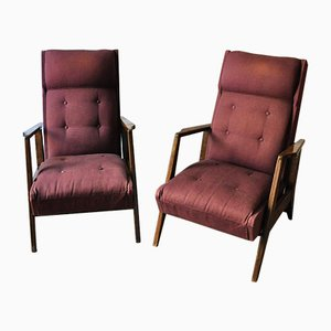 Wood and Fabric Armchairs from GMC, 1960s, Set of 2