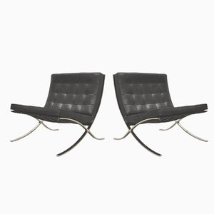Barcelona Chairs by Mies van der Rohe by Knoll International, 1980s, Set of 2