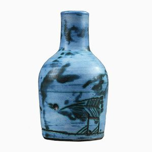 Kleine Blaue Keramik Vase von Jacques Blin, 1950er