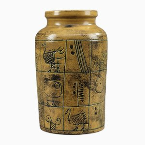 Ockerfarben Glasierte Keramik Vase von Jacques Blin, 1950er