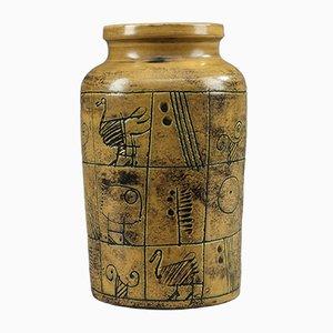 Vase en Céramique Glacé Ocre par Jacques Blin, 1950s
