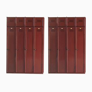 Mid-Century Red Steel Lockers, 1950s, Set of 2