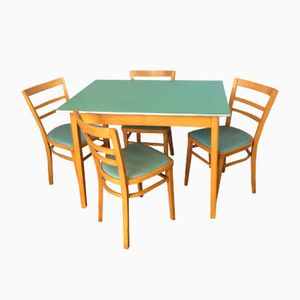 Beech & Aqua Formica Table with Four Chairs from Ben Chairs, 1950s