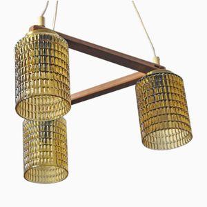 Dreifache Teak Deckenlampe, 1960er