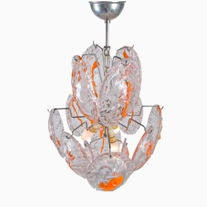 Vintage Chandelier with Orange Medallions