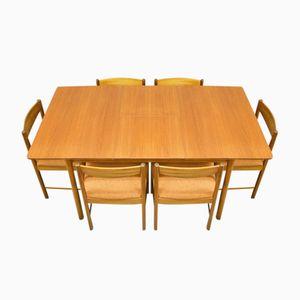 Ausziehbarer Mid-Century Teak Esstisch mit 6 Stühlen von McIntosh