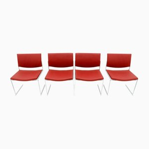 Vintage JK 770 Esszimmerstühle aus Stahl und Leder von Jørgen Kastholm für Kill International, 4er Set