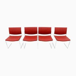 Vintage JK 770 Steel & Leather Dining Chairs by Jørgen Kastholm for Kill International, Set of 4