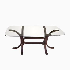 Vintage Table in Glass and Curved Wood