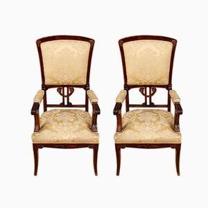 Spanish Armchairs in Mahogany, 1920s, Set of 2