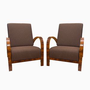 Art Deco Czech Adjustable Walnut Armchairs, 1930s, Set of 2