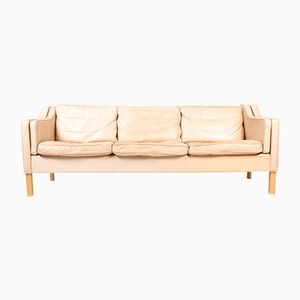 tan leather sofa by mogens hansen 1980s