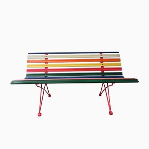 Mid-Century Belgian Multicolored Garden Bench