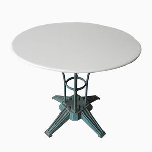 Tavolo da giardino Art Déco in acciaio con base in ghisa, Francia