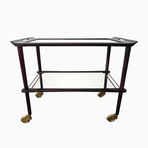 Vintage French Trolley with 2 Glass Plates, 1950s