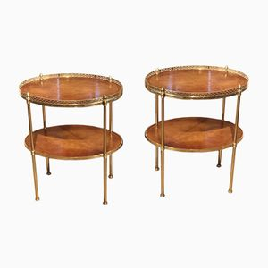 Oval Brass Occasional Tables, 1950s, Set of 2