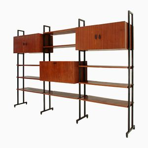 Italian Wall Unit with Metal Uprights, 1960s