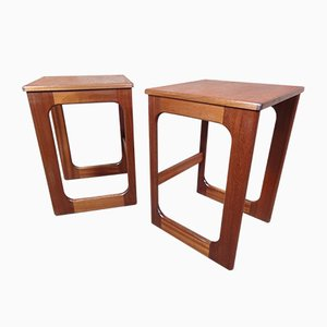 Tall Teak Side Tables, 1960s, Set of 2