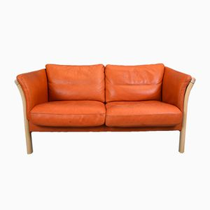 Mid-Century Danish Orange Tan Leather Two-Seater Sofa
