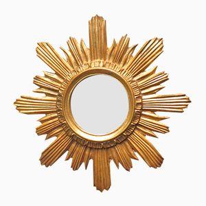 Vintage Golden Wood Sun Mirror