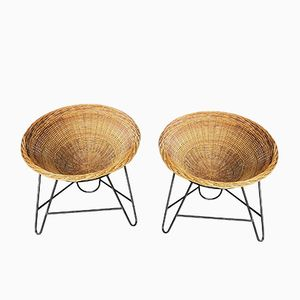 Vintage Basket Chairs, Set of 2