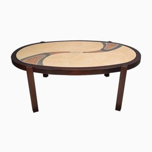 mid-century danish teak tile top coffee table from haslev for sale