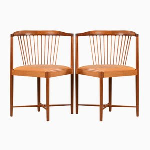Mahogany King of Diamonds Chairs by Børge Mogensen for Søborg Møbelfabrik, 1940s, Set of 2