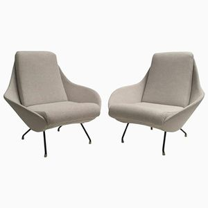 Italian Sculptural Mantis Form Lounge Chairs, 1950s, Set of 2