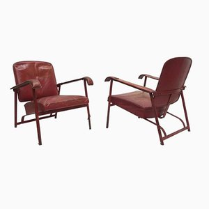 Vintage Leather Lounge Chairs by Jacques Adnet, Set of 2