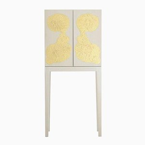 Whitened Ash & Gold Leaf Cabinet by Philippe Cramer, 2012