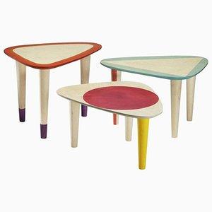 Tavolini da caffè in betulla dipinta a mano di Philippe Cramer, 2013, set di 3