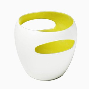 Schwyz Porcelain Vase with Bright Yellow Enameled Interior by Philippe Cramer, 2001