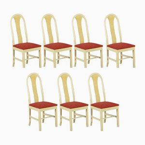 Vintage Italian Chairs in Wood and Fabric, 1950s, Set of 7