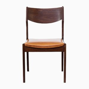 Teak Leatherette Dining Chairs, 1960s, Set of 4