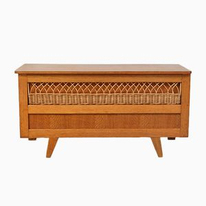 Mid-Century Scandinavian Wood & Rattan Chest