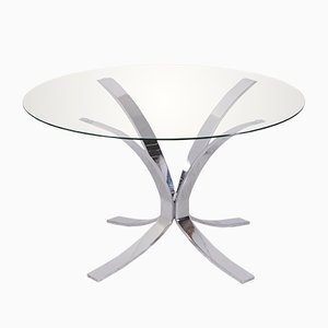 Vintage Glass Top Coffee Table with Chrome Plated Base
