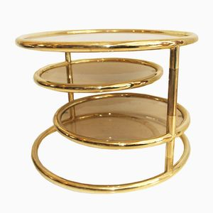 Adjustable French Three-Tiered Gold Metal Coffee Table, 1970s