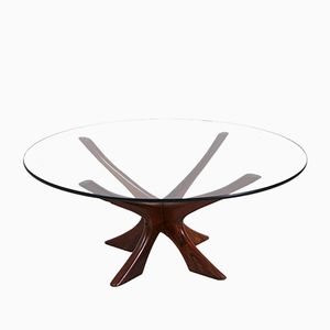 Vintage Rosewood and Glass Coffee Table by Illum Wikkelsø for Cfc Silkeborg