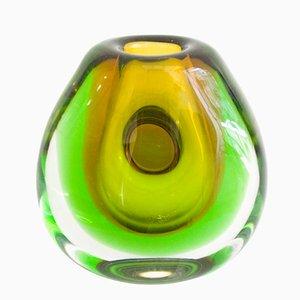 Eingelassene Vintage Vase von Vladimir Mika für Moser Glasswork, 1967