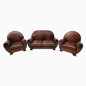 Vintage Leather Club Living Room Set, Set of 3