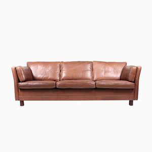 Danish Three-Seater Leather Sofa, 1980s